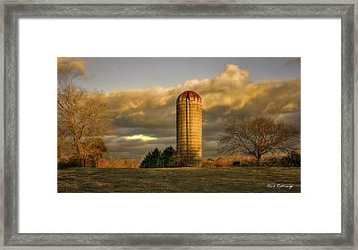 Afternoon Sunset Glow Rustic Silo Farm Art Framed Print by Reid Callaway