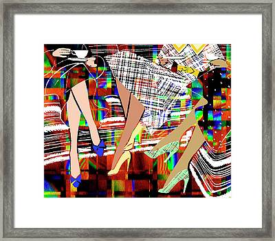 Afternoon Tea For Three - Digital Painting From Vintage Illustration Framed Print by Rayanda Arts