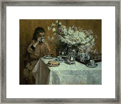 Afternoon Tea Framed Print by Isidor Verheyden