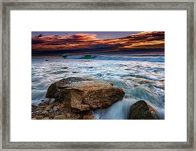 Against The Tide At Montauk Point Framed Print by Rick Berk