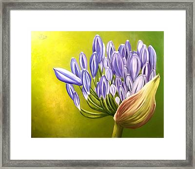 Framed Print featuring the painting Agapanthos by Natalia Tejera