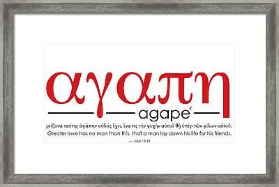 Agape Framed Print