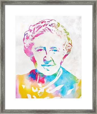 Agatha Christie Watercolor Tribute Framed Print