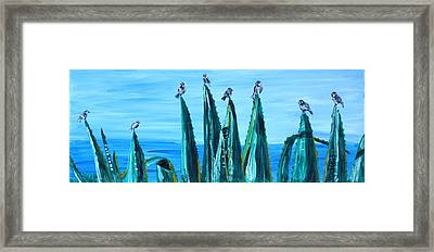 Agave With Sparrows Framed Print by Valerie Ornstein