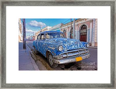 Aged And Run-down Cuban Auto In The Street Of Cienfuegos, Cuba  Framed Print by Mikko Palonkorpi