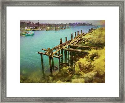 Aged Docks From Winthrop Framed Print