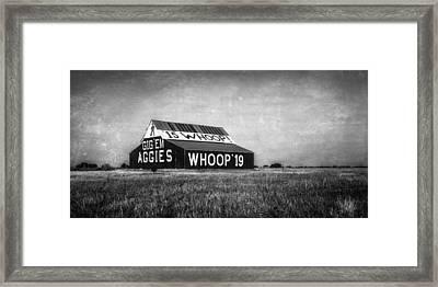 Aggie Barn 2015 Bw Framed Print