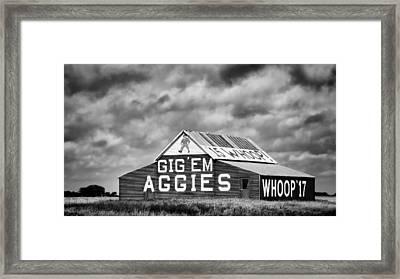 Aggie Barn In Bw Framed Print by Stephen Stookey