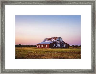 Aggie Barn Sunrise 2015 Framed Print