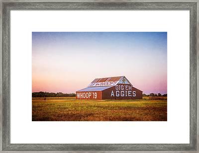 Aggie Barn Sunrise 2015 Textured Framed Print