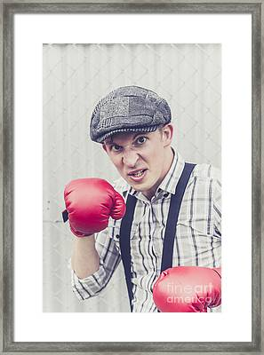 Aggressive Boxer Wearing 1920s Flat Cap Framed Print by Jorgo Photography - Wall Art Gallery