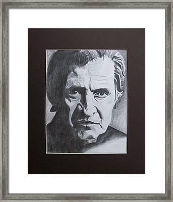 Aging Johnny Cash Framed Print by Mikayla Ziegler