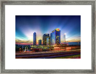 Framed Print featuring the photograph Aglow Atlanta Midtown Atlantic Station Sunset Art by Reid Callaway