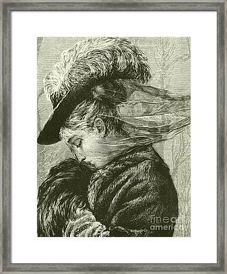 Agnes Holds Her Warm Muff To Her Face Framed Print