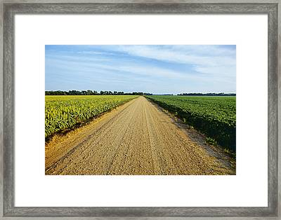 Agriculture - A Gravel Country Road Framed Print