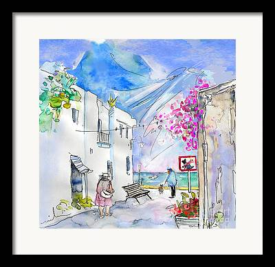 Village By The Sea Drawings Framed Prints
