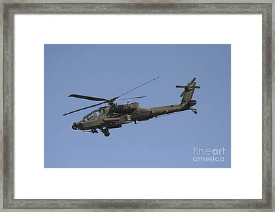 Ah-64 Apache In Flight Over The Baghdad Framed Print