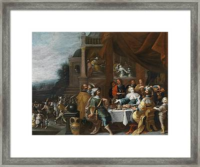 Ahasver And Haman At The Banquet Of Esther Framed Print