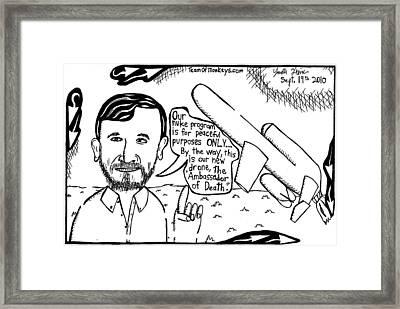 Ahmadinejad For Peace By Yonatan Frimer Framed Print by Yonatan Frimer Maze Artist