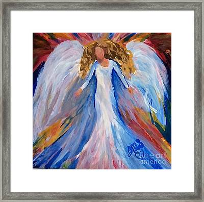 Alcohol Ink Angel On Tile Framed Print
