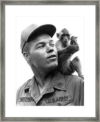 Airborne Monkey Mascot Framed Print by Underwood Archives