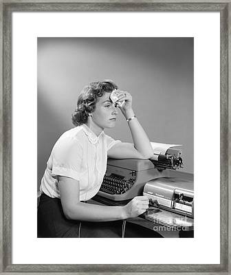 Ailing Secretary At Desk Framed Print by H. Armstrong Roberts/ClassicStock
