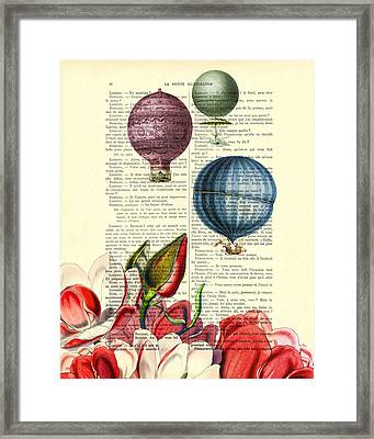 Hot Air Balloons Above Flower Field Framed Print by Madame Memento