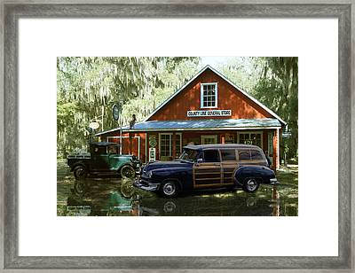 Air Brushed Woody At Country Store Framed Print by John Breen