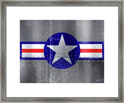 Air Force Logo On Riveted Steel Plane Fuselage Framed Print by Design Turnpike