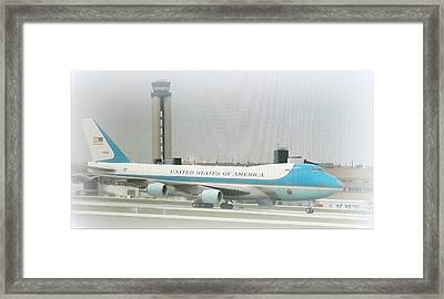 Air Force One At Mitchell Field Framed Print