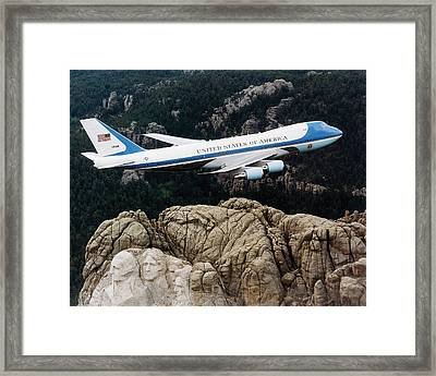 Air Force One Flying Over Mount Rushmore Framed Print by War Is Hell Store