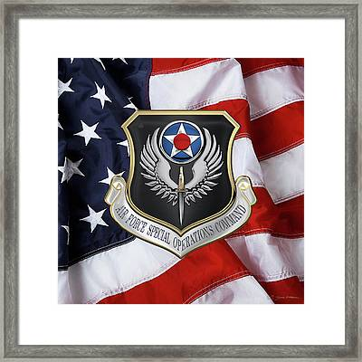 Air Force Special Operations Command -  A F S O C  Shield Over American Flag Framed Print by Serge Averbukh