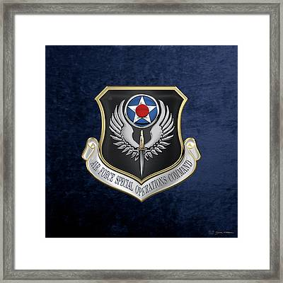 Air Force Special Operations Command -  A F S O C  Shield Over Blue Velvet Framed Print by Serge Averbukh