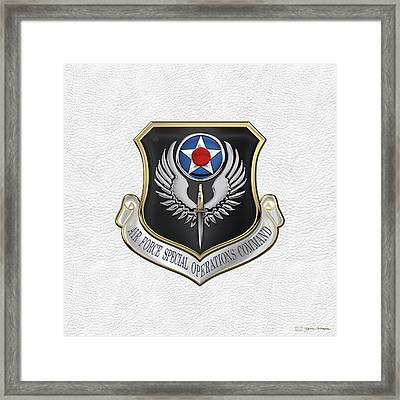 Air Force Special Operations Command -  A F S O C  Shield Over White Leather Framed Print by Serge Averbukh
