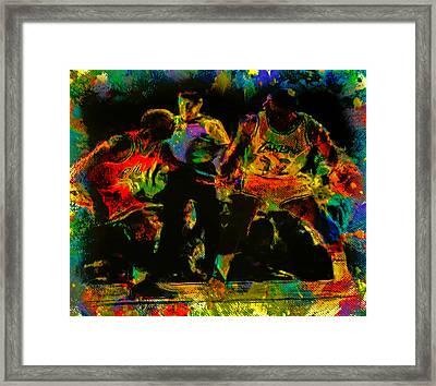 Air Jordan And Magic In The Paint Framed Print