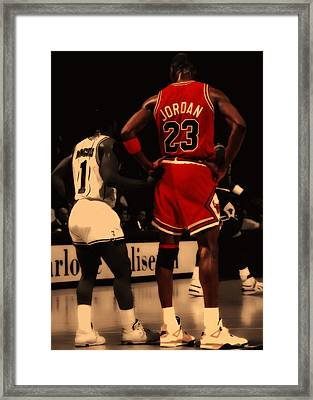 Air Jordan And Muggsy Bogues Framed Print