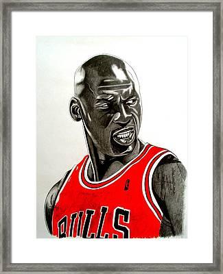 Air Jordan Raging Bull Drawing Framed Print by Keeyonardo