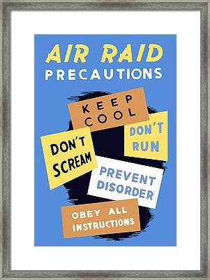 Air Raid Precautions - Ww2 Framed Print
