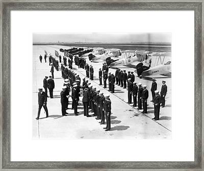Air Sailors Being Inspected At Floyd Framed Print by Everett