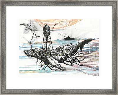 Air Support For Whale In Peril Framed Print by Tai Taeoalii