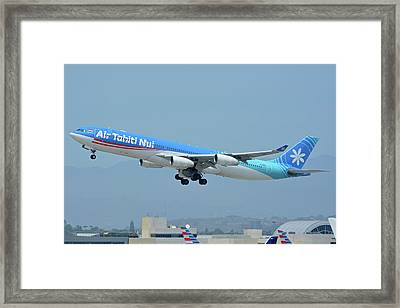 Air Tahiti Nui Airbus A340-313x F-osea Los Angeles International Airport May 3 2016 Framed Print by Brian Lockett