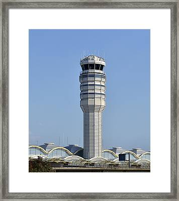 Air Traffic Control Tower At Reagan National Airport Framed Print by Brendan Reals