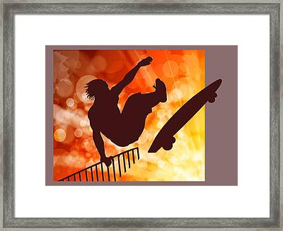 Airborne Skateboarder Silo Red Orange And Yellow Bokkeh Framed Print