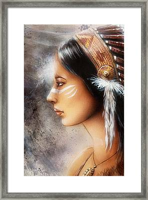 Airbrush Painting Of A Young Indian Woman. Profile Portrait Framed Print by Jozef Klopacka