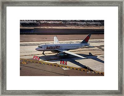 Airbus A320-231 Preparing For Takeoff America West Airlines Framed Print by Wernher Krutein