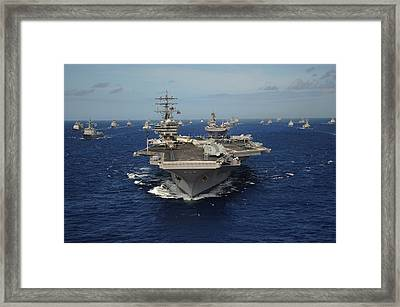 Aircraft Carrier Uss Ronald Reagan Framed Print by Everett