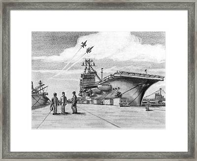 Aircraft Carrier Framed Print by Vic Delnore