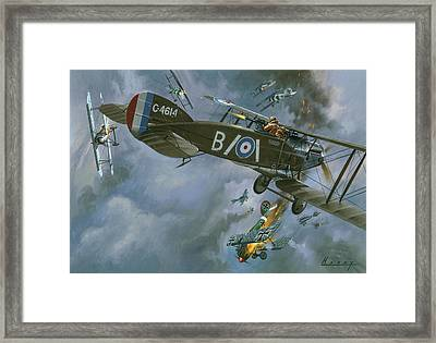 Aircraft In Dogfight Framed Print by Wilf Hardy