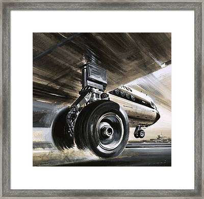 Aircraft Landing Or Taking Off Framed Print by Wilf Hardy
