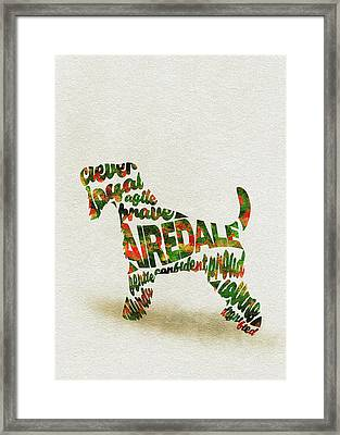 Airedale Terrier Watercolor Painting / Typographic Art Framed Print